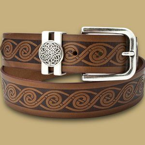 New Leather  Irish Celtic Embossed Belt M L XL